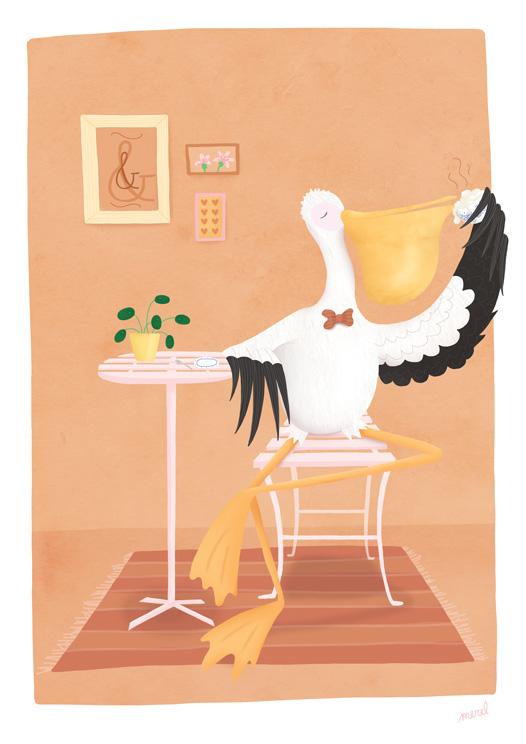 Pelikaan aan de koffie illustratie Merel van Lamoen