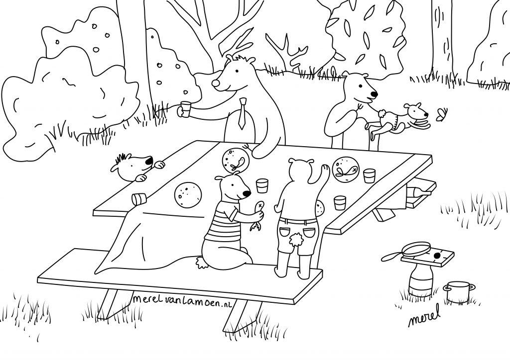 kleurplaat picknick merel van lamoen